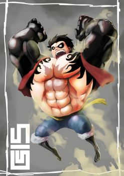 POUNDMAN? BOUNDMAN? BOUNCEMAN? (Luffy 4th Gear) by kebogai