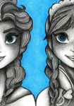Elsa and Anna by Eviethelion