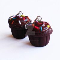 Double Choco Cupcake Earrings by FatallyFeminine