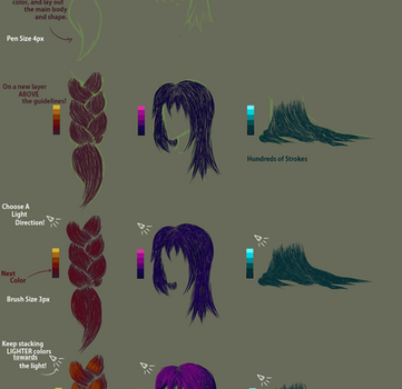 Hair Braids, Coloring and Shading Tutorial by mamasaurus