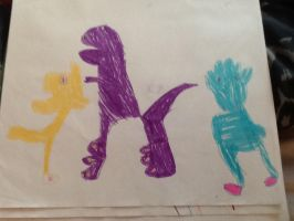 Barney the dinosaur and co by Symrea
