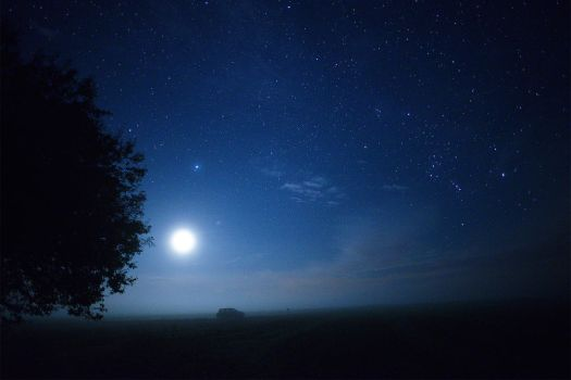 The Moon, Jupiter and Orion by Jean-Baptiste-Faure