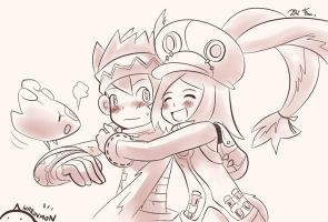 Monkey and Rabbit by warinmon