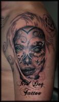 Heywood's Day of the Dead Lady Tattoo 1st Session by Reddogtattoo