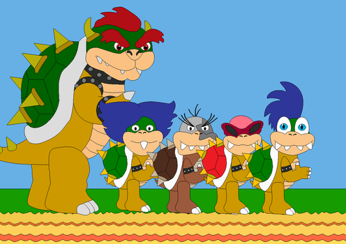 Bowser and 4 of his 8 children by Bowser14456