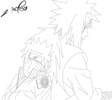 Naruto and Jiraya lineart by aca985