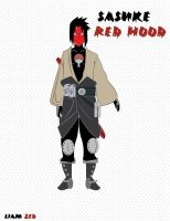 Saskue Red Hood Naruto by LiamZedTheDesigner