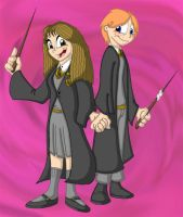 Hermione and Ron by Duckboy