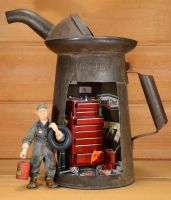 Ted the mechanic  at his old Oil Can tool shed. by MiniatureMadness