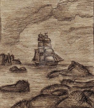 Ship in Rocky Waters by AwesomePirate