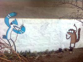 Mordecai and Rigby graffiti by ShinodaGE