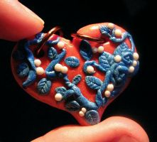 the heart, the blue rose and pearls by schikaka