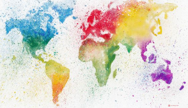 Rainbow Watercolor World by disco-mouse