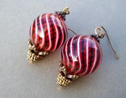 Hot Air Balloon Earrings by salvagedsword