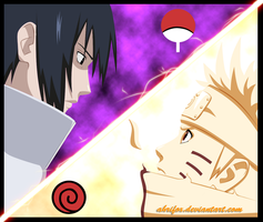 Naruto vs Sasuke - coloured by Ahrifox