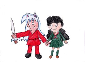 Inu-yasha and Kagome by VioletAnne9
