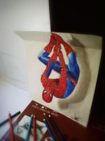 3d drawing spiderman --3d drawing by Arthur T. by ATCdrawings