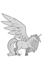 Winged Unicorn Lineart by jaclynonacloud