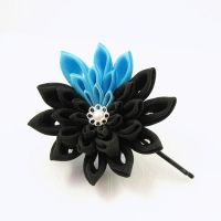 black and turquoise hair pin by offgenemi