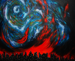 Galaxy on Fire by OFFtheWALLpaintings