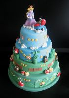 Mario Bros Wedding Cake by Naera