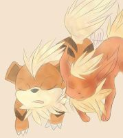 Flareon and a Growlithe by XxKillerWafflesxX