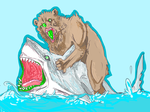 A BEAR RIDING A SHARK by RiiPause