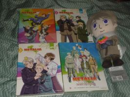 My Hetalia DVDs and Russia Plush (MP14Anime entry) by nursal1060