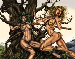 Poison Ivy VS Cavewoman by Taraakian