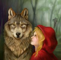 Red and Mr. Wolf by Tattered-Artemisia