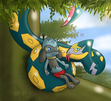 The Pokemon Book, Relaaaax little Lucario-cub! by Kiniun-Latios