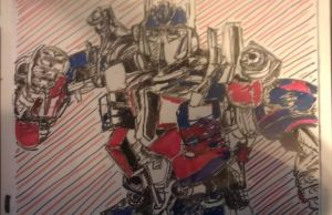 Whiteboard Optimus Prime by trulyquixotical