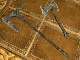 Nordic hero war axe and battle axe by isaac77598