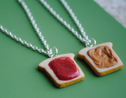 Peanut Butter and Strawberry Jam Necklaces by ClayRunway