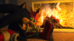 Snuggling by the Fire by Nictrain123