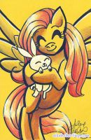 Fluttershy and Angel Bunny Sketch Card by alex-heberling