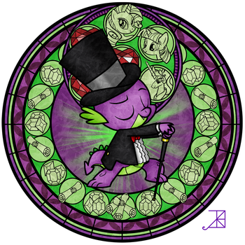 Stained Glass: Spike's Tux by Akili-Amethyst