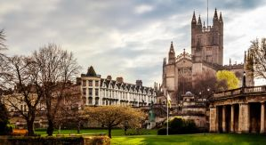 Bath Cathedral - River View Pano by LostChemist