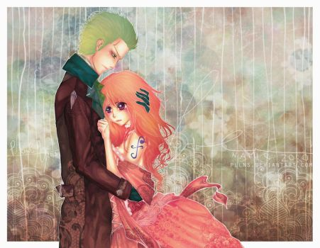 ONE PIECE - Nami + Zoro :: tenderness by PLlNs