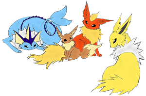 Kanto's Eevee Family! by Alpha-Bread
