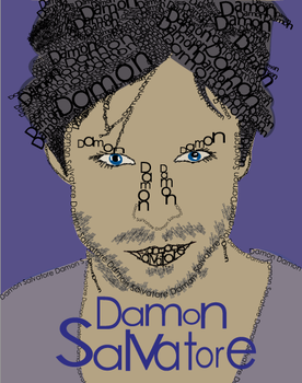 Damon Salvatore Type-Face Portrait by TheElegantFaerie