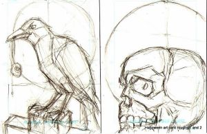 2 Halloween card roughs by tarpalsfan
