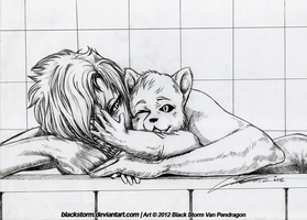 Grimmjow and little Cachorro, bathtime by blackstorm