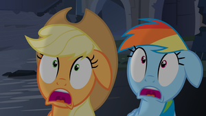 Apple Jack and Rainbow Dash Scared Witless (w/BG) by liamwhite1
