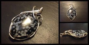 Snowflake Obsidian Wire Wrapped Pendant by BlockheadGaming