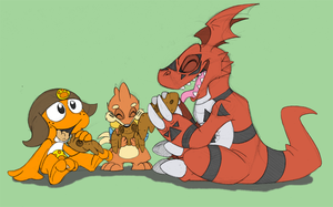 Request- Guilmon Bread Party by Yark-Wark