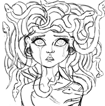 Lazy saturdays and quick Medusa doodles. by lunaticmermaid