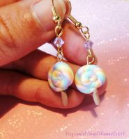 Lollipop Earrings, Pastel Swarovski Polymer Clay by xhellojackiex
