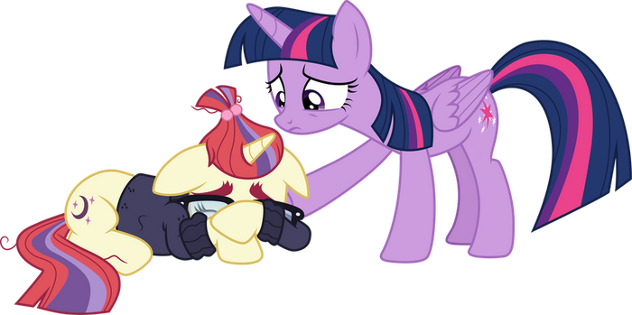 Twilight comforting Moon Dancer by CloudyGlow