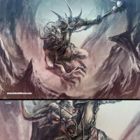 Raging Minotaur by Dragolisco